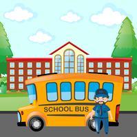 Motorista dirigindo ônibus escolar vetor