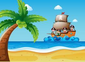 Cena, com, crianças, ligado, a, sailboat vetor