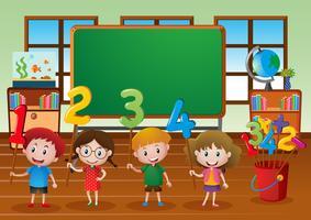 Crianças e números diferentes em sala de aula vetor