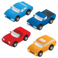 Sedan isométrica, carro esportivo, vetor de SUV e caminhão