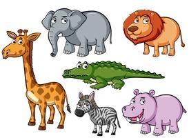 Diferentes tipos de animais com rostos infelizes vetor