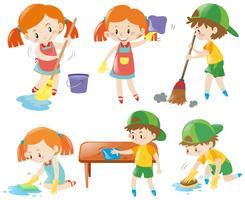 Meninos e meninas fazendo tarefas vetor