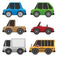 Ilustração em vetor bonito carros e caminhões