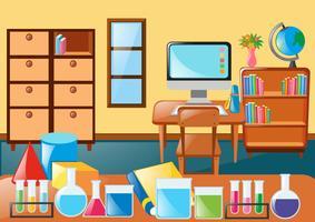 Sala de aula cheia de equipamentos científicos vetor