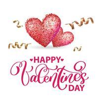 Feliz dia dos namorados cartão romântico com coração e serpentina de ouro vetor