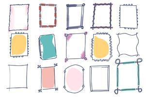 Conjunto de quadros de vetor doodle em fundo branco