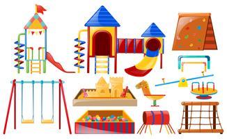 Diferentes tipos de playstations no playground vetor