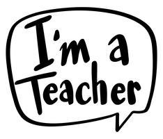 Expressão da palavra para eu sou um professor vetor