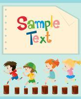 Design de papel com crianças correndo vetor
