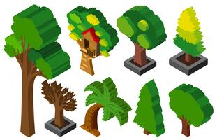 Design 3D para muitos tipos de árvores vetor