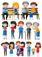 Membros da família de diferentes gerações vetor