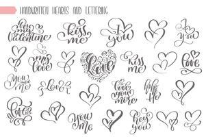 Grande conjunto de escritos à mão lettering sobre amor vetor