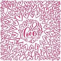 floreio caligrafia vintage amor e corações vetor