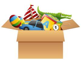 Muitos brinquedos na caixa marrom vetor