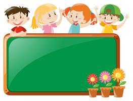 Design de moldura com crianças e flores vetor