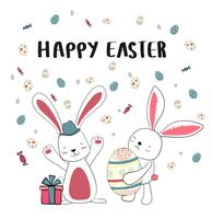 feliz dois coelho com ovos fofos, feliz cartão de Páscoa vetor