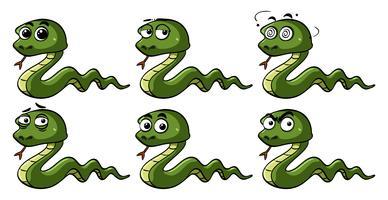 Cobras verdes com emoções diferentes vetor