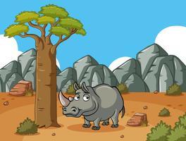 Rinoceronte no campo do deserto vetor