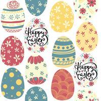 feliz Páscoa dia bonito ovos coloridos padrão sem emenda vetor