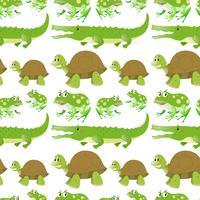 Plano de fundo sem emenda com crocodilos e tartarugas vetor