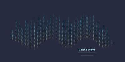 onda sonora do vetor. equalizador digital colorido abstrato. gráfico de onda de áudio de ilustração vetorial de frequência e espectro em fundo escuro. vetor