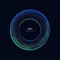 vetor abstrato explosão pontos coloridos equalizador círculo forma isolada fundo de tecnologia. visualização de algoritmos de big data.