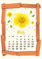Modelo de calendário com flor amarela para maio vetor