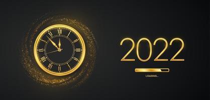 feliz ano novo 2022. números metálicos dourados 2022, relógio de ouro com algarismo romano e contagem regressiva da meia-noite com barra de carregamento em fundo cintilante. cenário estourando com brilhos. ilustração vetorial. vetor