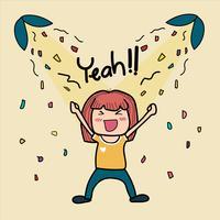 mão desenhada doodle linda garota está muito feliz dizendo sim