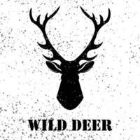 logotipo de veado selvagem com efeito grunge. silhueta de logotipo de veado de vetor, desenho ilustração de perfil monocromático mascote mamífero para seu web design. vetor
