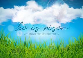 Ilustração do feriado da Páscoa com nuvem e grama verde no fundo do céu azul. Ele está ressuscitado.