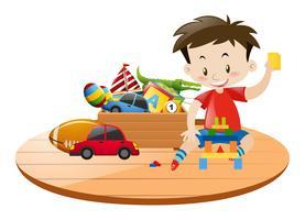 Menino e muitos brinquedos vetor