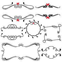 Mão desenhada esboçado linha fronteira casamento arte ilustração em vetor