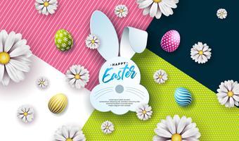 Ilustração em vetor de feliz Páscoa feriado com ovo pintado, orelhas de coelho e flor de primavera