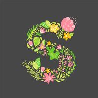 Verão floral letra S vetor