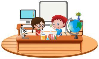 Dois, menino, em, ciência, sala aula vetor