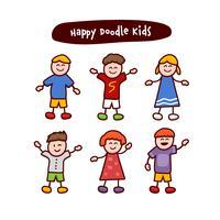 Doodle feliz crianças crianças stickman cliptart ilustração conjunto