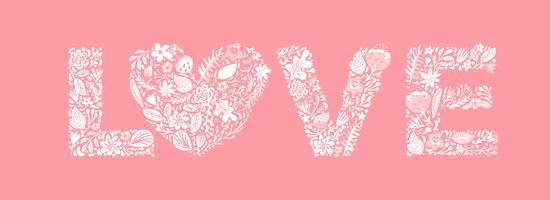 Floral verão palavra amor vetor