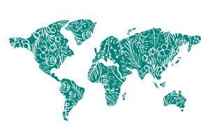 Mapa do mundo desenhado à mão com flores para o dia dos namorados vetor