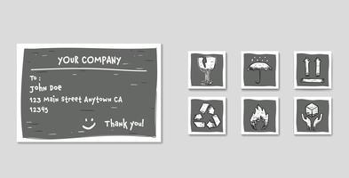 Envio de rótulo definido com o conjunto de ícones de pacote no estilo de desenho de doodle com vidro frágil, manuseie com cuidado, inflamável, seta para cima, mantenha-se seco e reciclar vetor