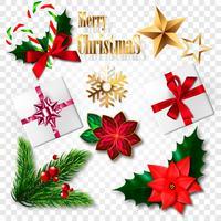 Conjunto de elementos de Natal realistas. Ilustração vetorial