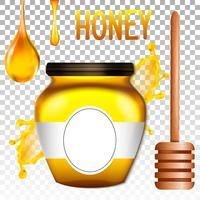 Banco 3d realista de mel. Ilustração vetorial
