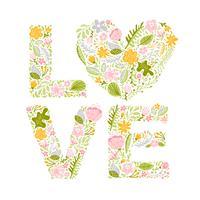 Floral verão palavra amor