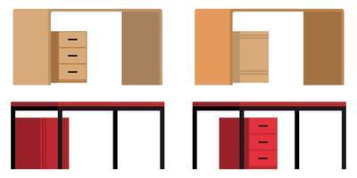 fofa colorida linda mesa de escritório em casa com vista lateral diferente com gaveta isolada vetor
