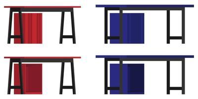 mesa de escritório em casa bonita colorida fofa com vista lateral diferente com gaveta vetor