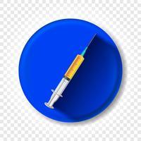 Uma seringa realista com medicamento. Ilustração vetorial vetor
