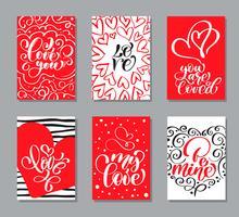 Modelos de cartões de dia dos namorados de vetor