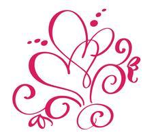 Vector Dia dos Namorados de florescer corações vintage de caligrafia