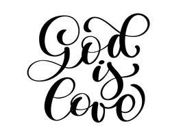 Deus é amor citação cristã texto, mão lettering tipografia design vetor