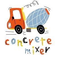 feliz betoneira está dirigindo. carro de construção bonito para crianças isolado no fundo branco. vetor